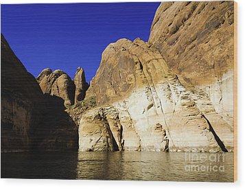 Lake Powell Rock And Sky Wood Print by Thomas R Fletcher