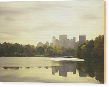 Lake Reflection Skyline 3 Wood Print