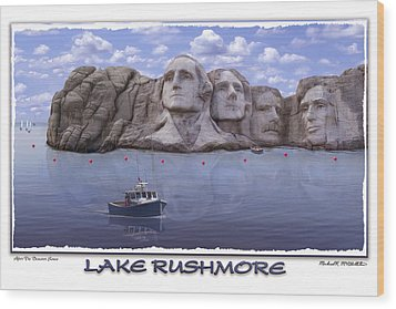 Lake Rushmore Wood Print by Mike McGlothlen