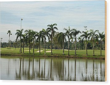 Lake Sand Traps Palm Trees And Golf Course Singapore Wood Print by Imran Ahmed