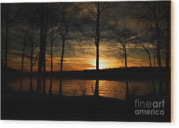 Lake Sunset Wood Print by Christy Ricafrente