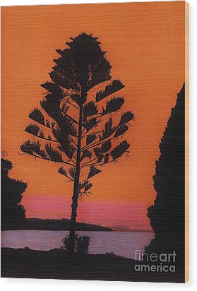 Wood Print featuring the drawing Lake Sunset by D Hackett