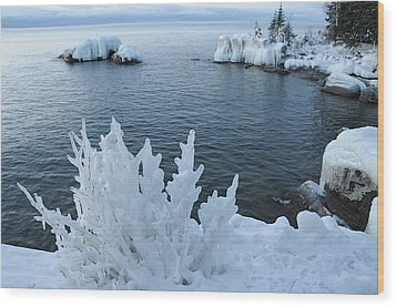 Lake Superior Blues Wood Print by Sandra Updyke