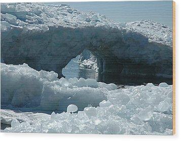 Lake Superior Ice Bridge Wood Print by Sandra Updyke