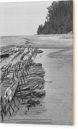 Lake Superior Shipwreck Wood Print