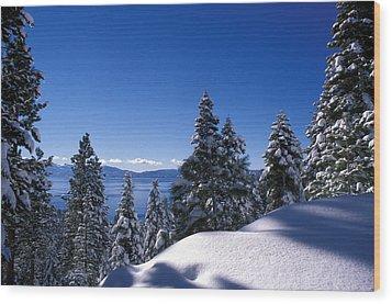 Lake Tahoe In Winter Wood Print by Kathy Yates