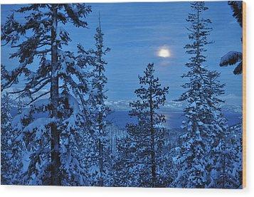 Lake Tahoe Moonset Wood Print by Bruce Friedman