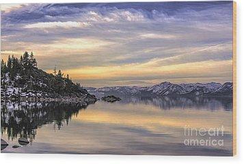 Lake Tahoe Sunrise Wood Print by Nancy Marie Ricketts