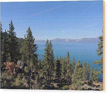 Lake Tahoe Through The Trees Wood Print by Jayne Wilson