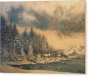 Wood Print featuring the painting Lake Tahoe Winter Colors 2 by Donna Tucker