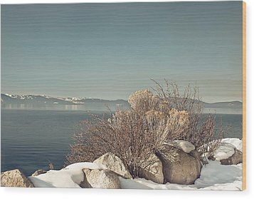 Lake Tahoe Winter Wood Print by Kim Hojnacki