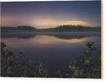 Lake View At Night Wood Print