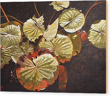 Lake Washington Lily Pad 11 Wood Print by Thu Nguyen