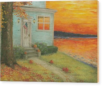 Lakehouse Fall Nocturne Wood Print
