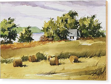 Lakeside Hay Wood Print by Art Scholz