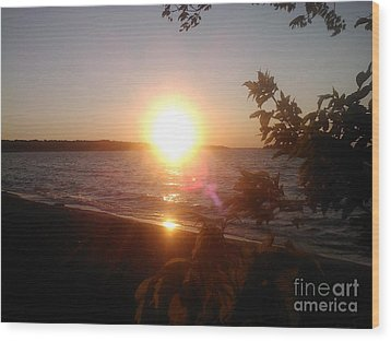 Lakeside Sunset Wood Print