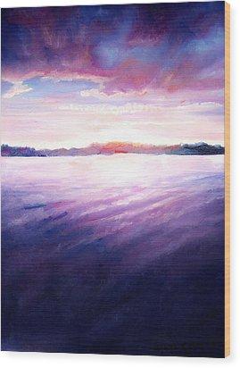 Lakeside Sunset Wood Print by Shana Rowe Jackson
