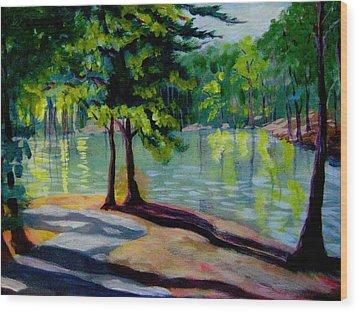 Lakeside Trail Enhanced Wood Print by Gretchen Allen