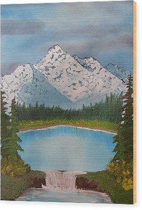Lakeside Waterfall Wood Print by Jared Swanson