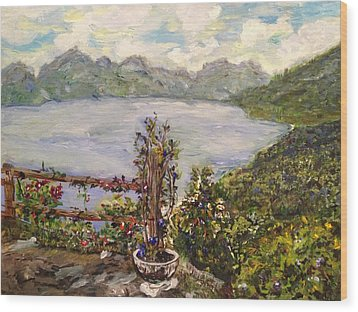 Wood Print featuring the painting Lakeview by Belinda Low