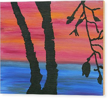 Lakeview Sunset Wood Print by Vadim Levin