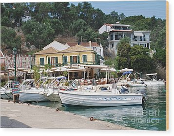 Lakka Harbour On Paxos Wood Print
