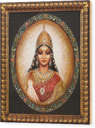 Wood Print featuring the painting Lakshmi Goddess Of Abundance by Ananda Vdovic