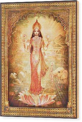 Lakshmi Goddess Of Fortune With Lighter Frame Wood Print