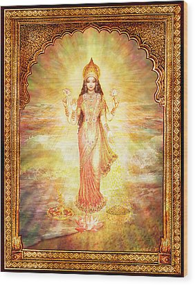 Lakshmi The Goddess Of Fortune And Abundance Wood Print by Ananda Vdovic