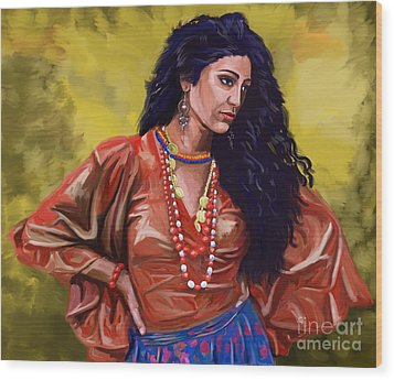 Wood Print featuring the painting Lala Gypsy Girl by Tim Gilliland