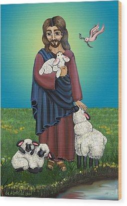 Lamb Of God Wood Print by Victoria De Almeida