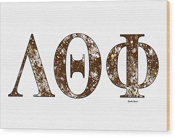 Wood Print featuring the digital art Lambda Theta Phi - White by Stephen Younts