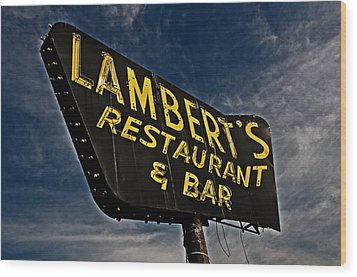 Wood Print featuring the photograph Lambert's Restaurant And Bar by Andy Crawford