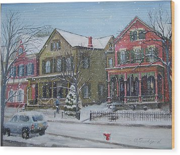 Lambertville In The Snow Wood Print by Oz Freedgood