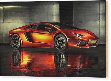 Lamborghini Aventador Wood Print by Movie Poster Prints