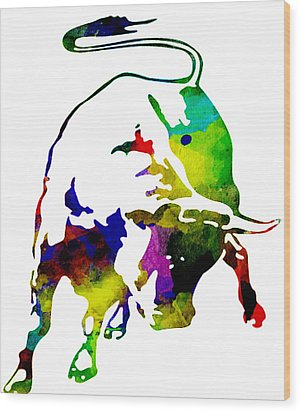 Lamborghini Bull Emblem Colorful Abstract. Wood Print