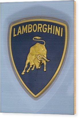Lamborghini Car Badge Wood Print by John Colley