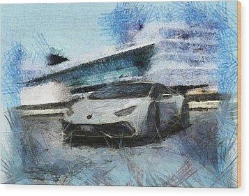 Lamborghini Huracan Wood Print by Mario Carini