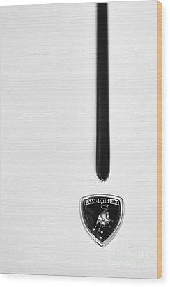 Lamborghini Monochrome Wood Print by Tim Gainey