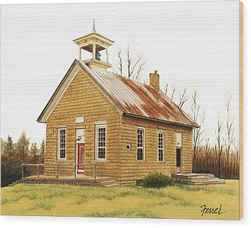 Wood Print featuring the painting Lambson School by Ferrel Cordle