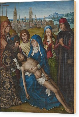 Lamentation With Saint John The Baptist And Saint Catherine Of Alexandria Wood Print by Master of the Legend of Saint Lucy