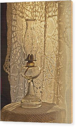 Wood Print featuring the photograph Lamp By The Window by Lena Wilhite
