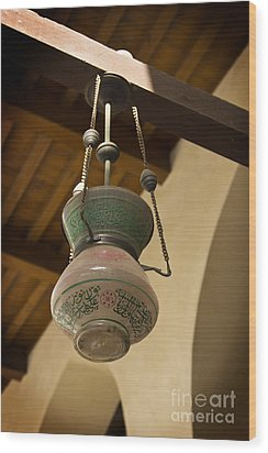 Wood Print featuring the photograph Lamp In Old Mosque by Mohamed Elkhamisy
