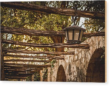 Lamps At The Alamo Wood Print