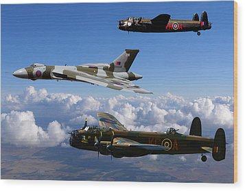 Lancaster Bombers And Vulcan Xh558 Wood Print by Ken Brannen