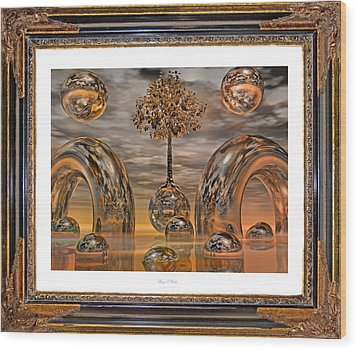 Land Of World 8624042 Framed Wood Print by Betsy Knapp