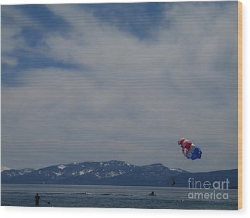 Wood Print featuring the photograph Parasail Landing by Bobbee Rickard