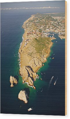 Land's End Aereal View Wood Print by Camilla Fuchs