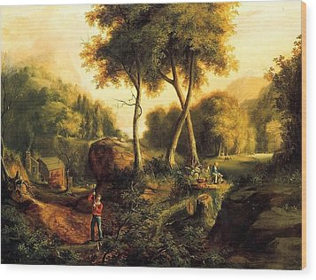 Wood Print featuring the painting Landscape - 1845 by Thomas Cole