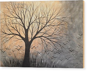 Wood Print featuring the painting Landscape Art French Writing Prairie Flight by Amy Giacomelli